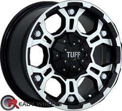 TUFF T03 Flat Black Machined Face Flang Off-Road 15 inch