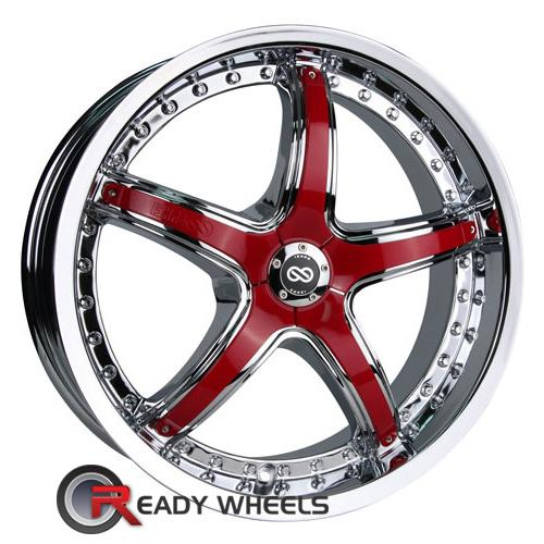 enkei ls 5 chrome w red cap 5 spoke 18 inch wheel and tire packages rims tires. Black Bedroom Furniture Sets. Home Design Ideas