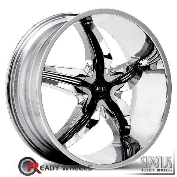 STATUS Dystany Chrome w/ Black Cap 5-Spoke Split 20 inch