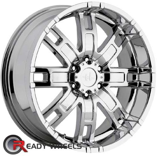 helo he835 chrome 8 spoke 18 inch wheel and tire packages rims tires. Black Bedroom Furniture Sets. Home Design Ideas