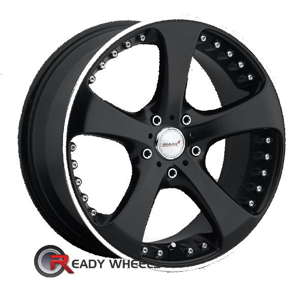 MAAS RACING M205 Black w/ Machine 5-Spoke 18 inch Wheels | Rims | Tires