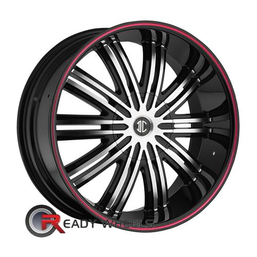 II Crave No07 Machined Black Lip W/Red Stripe Multi-Spoke 20 5x114