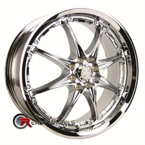 RPM R-501 Chrome 8-Spoke 17x7 - 4x100 Wheels - Rims + Sunny SN380 205/40/17