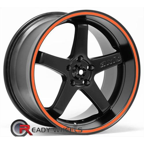 Axis Super Hiro Black Flat W/Stripe 5-Spoke 18 5x100 + Delinte D7 225/40/18