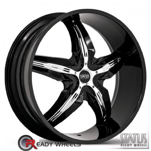 STATUS Dystany Black w/ Chrome Cap 5-Spoke Split 42 20 4x100