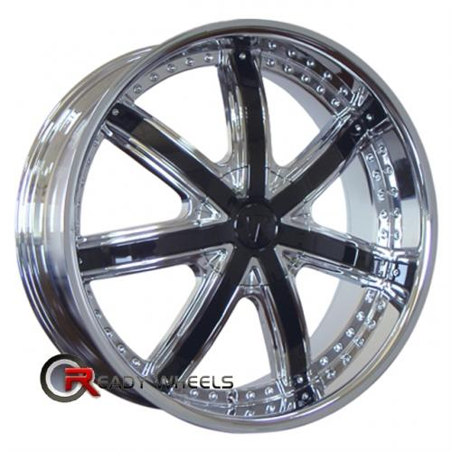VELOCITY V550 Chrome w/ Black Cap 7-Spoke 20 5x108