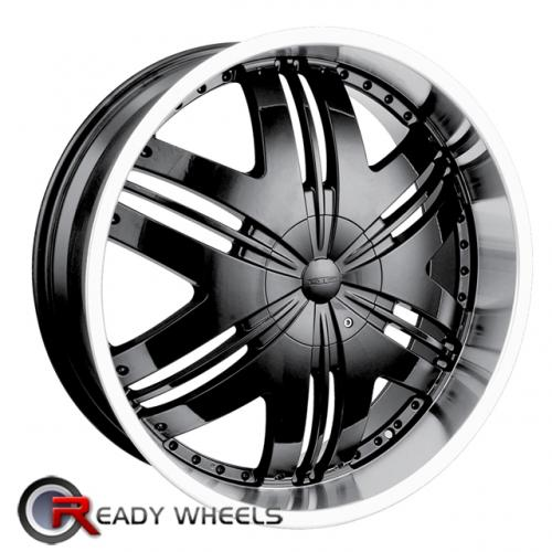 DIP SLACK D66  Machined w/Black Multi-Spoke 18x7.5 - 5x115 Wheels - Rims