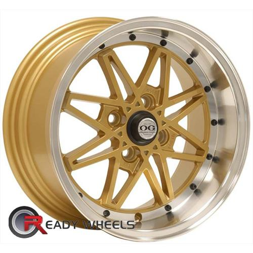 Axis OG Oldskool Gold Polished Lip Multi-Spoke 15 4x100