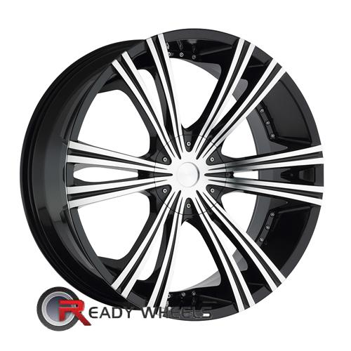 II Crave No12 Machined Black 6-Spoke Split 22 5x115 + Achilles Desert Hawk 265/35/22
