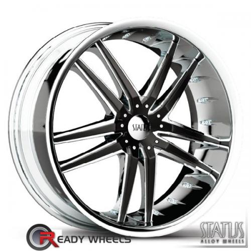 STATUS Fang Chrome w/ Black Cap 5-Spoke Split 42 20 5x100
